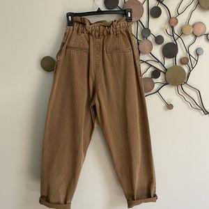 Zara Pants & Jumpsuits - Zara Baggy Paper Waist Pants 2 Khaki